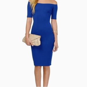Electric Blue Off The Shoulder Dress, size Small